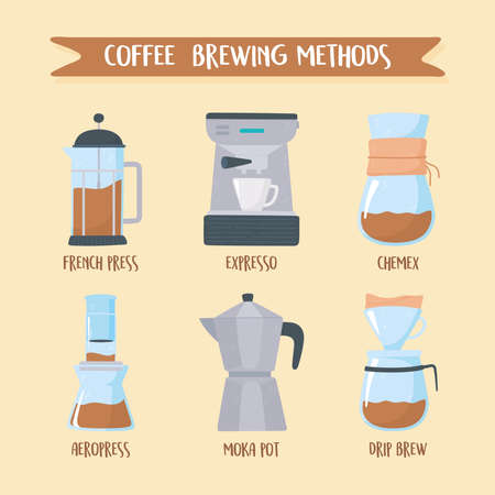 coffee brewing methods, different ways of making hot energy drink vector illustration