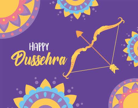 happy dussehra festival of india decorative mandalas bow arrow greeting card vector illustration