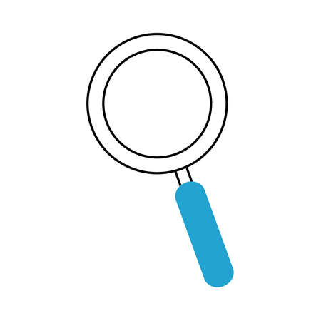 search icon, magnifying glass research discovery vector illustration blue line and fill