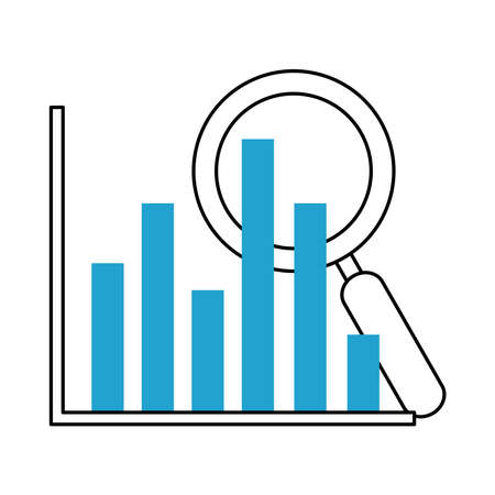 search icon, diagram report finance magnifier vector illustration blue line and fill
