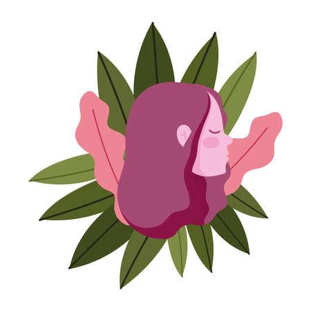 profile girl head cartoon with foliage leaves nature vector illustration