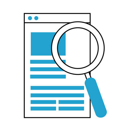 search icon, report document website magnifier vector illustration blue line and fill vector illustration