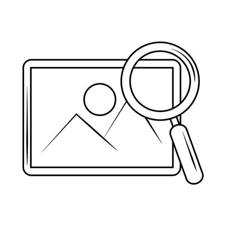 search icon, picture internet button magnifier vector illustration line style