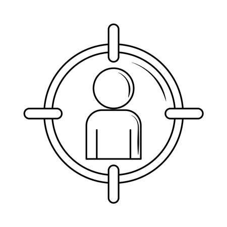 employee focus, personnel search target vector illustration line style