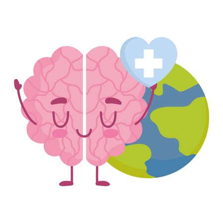 world mental health day, cartoon brain heart and earth vector illustration