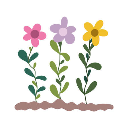 gardening, flowers planting in the ground isolated icon style vector illustration