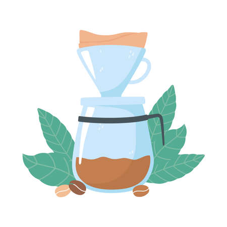 coffee brewing methods, drip maker coffee grains and leaves vector illustration
