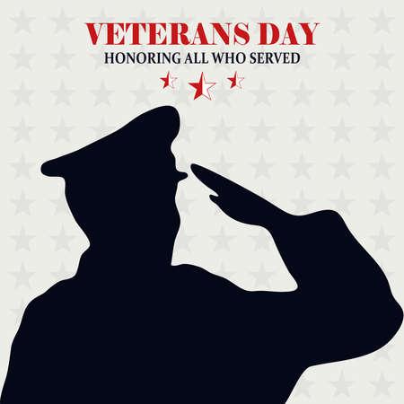happy veterans day, soldier saluting stars background card vector illustration Vecteurs
