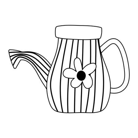 gardening, watering can with flower decoration isolated line icon style vector illustration