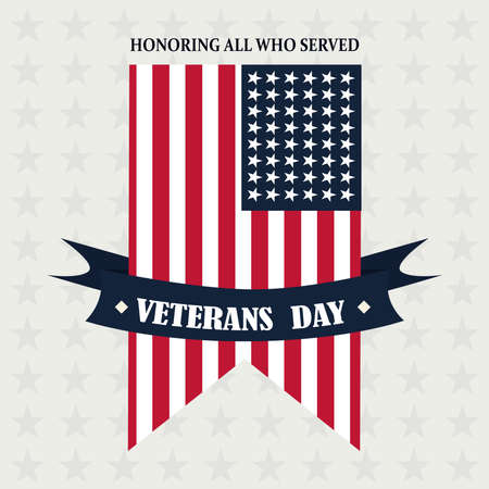 happy veterans day, american flag pendant ribbon memorial vector illustration