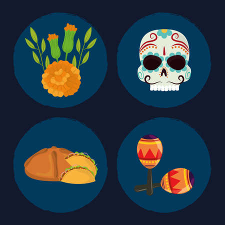 day of the dead, set icons skull bread flowers and maracas, mexican celebration vector illustration