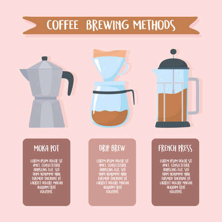 coffee brewing methods, instructions different style vector illustration vector illustration