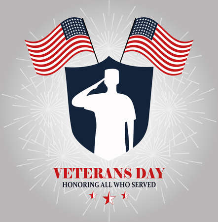 happy veterans day, white silhouette soldier on shield and amrerican flags vector illustration