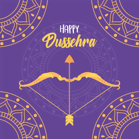 happy dussehra festival of india gold mandalas bow arrow purple background vector illustration