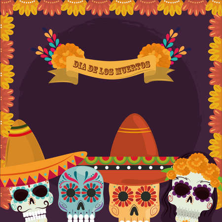 day of the dead, floral catrinas flowers with hat decoration card, mexican celebration vector illustration