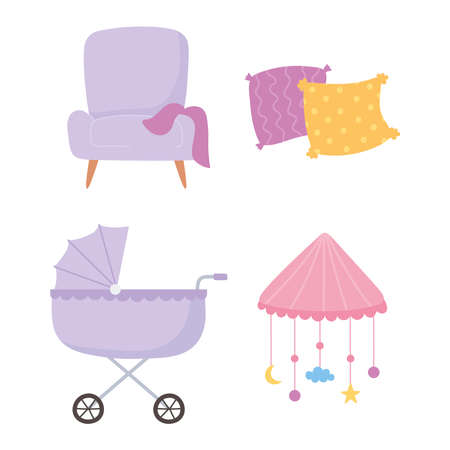 pregnancy and maternity, baby pram chair cushions and mobile crib icons vector illustration