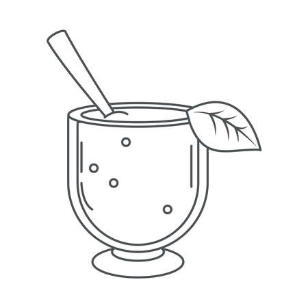 tea, glass cup with spoon and leaf line icon style vector illustration Çizim