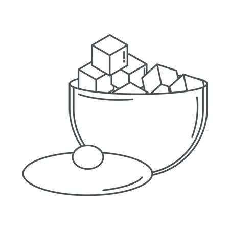 sugar bowl with many cubes line icon style vector illustration