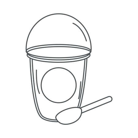 tea, takeaway disposable cup with spoon line icon style vector illustration