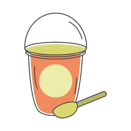 tea, takeaway disposable cup with spoon line and fill vector illustration