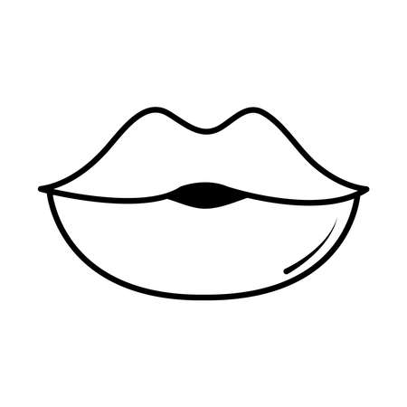 female lips pop art comic style, line icon vector illustration Ilustração