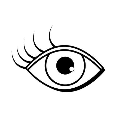 female eye eyelashes pop art comic style, line icon vector illustration