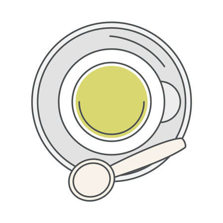 tea, top view cup with spoon on saucer line and fill vector illustration