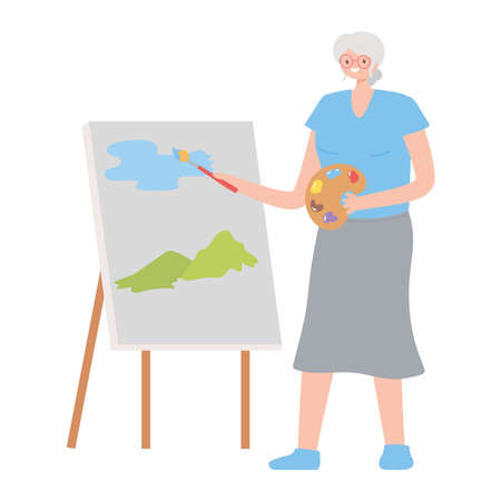 old woman with canvas and brush painting cartoon isolated design vector illustration