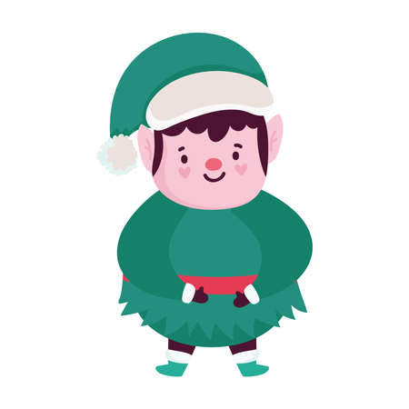 merry christmas, cartoon elf character, isolated design vector illustration