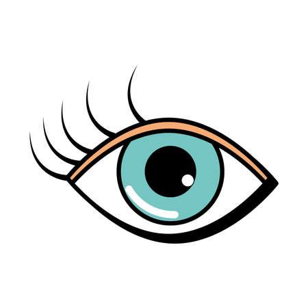 female eye eyelashes pop art comic style, flat icon vector illustration