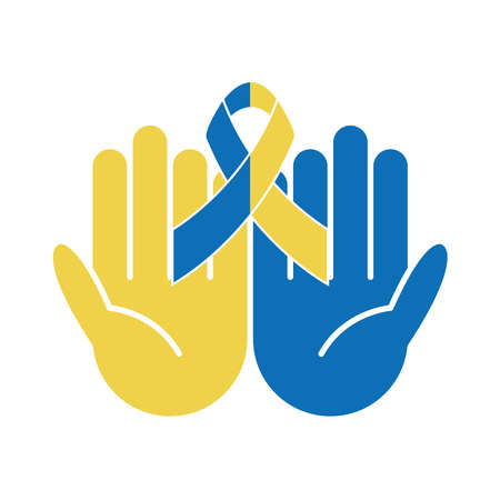 world down syndrome day, hands with ribbon healthcare vector illustration flat style
