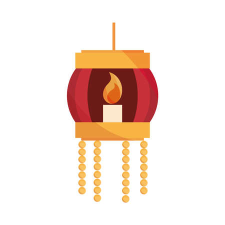 happy bhai dooj, lantern with burning candle decoration, celebrated by hindus vector illustration Vectores