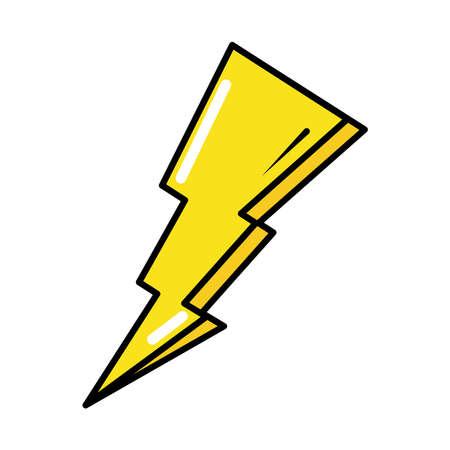 thunderbolt power pop art comic style, flat icon vector illustration Vettoriali