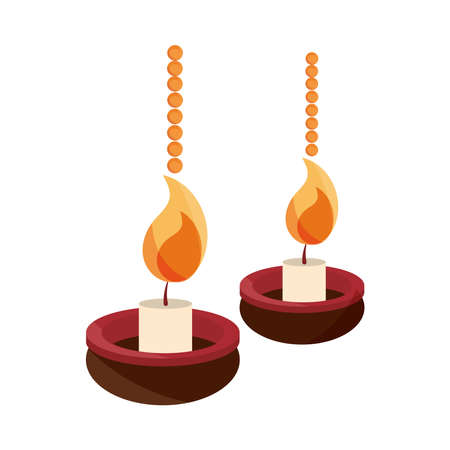 happy bhai dooj, celebration hanging diya lamps with candles vector illustration Vectores