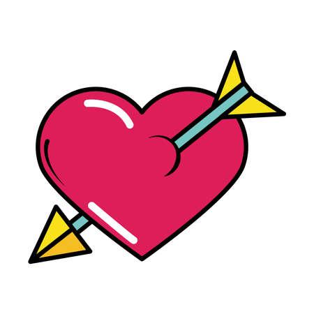 heart pierced arrow pop art comic style, flat icon vector illustration