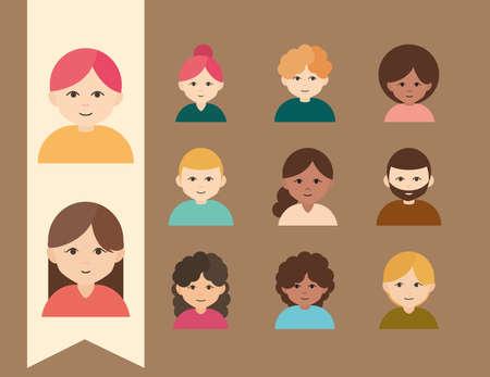 diverse women men different age culture flat icons set vector illustration
