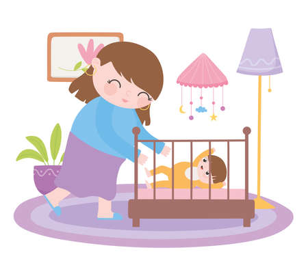 pregnancy and maternity, smiling mom with baby in crib vector illustration