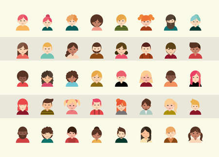people diverse faces of different ethnicity flat icons set vector illustration