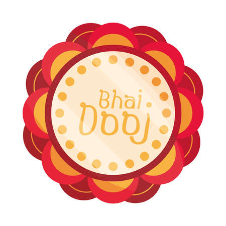 happy bhai dooj celebrated by hindus, floral decoration badge vector illustration Vectores