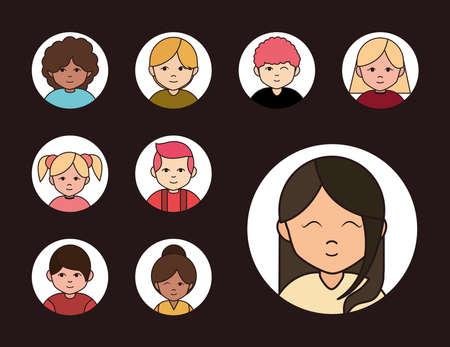diverse women men different age culture, round line icons set vector illustration Ilustração