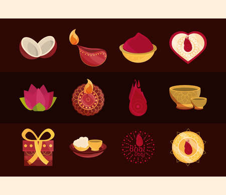 happy bhai dooj, occasion celebrated by hindus, set icons vector illustration