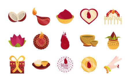 happy bhai dooj, celebrated by hindus family traditional, icons set vector illustration