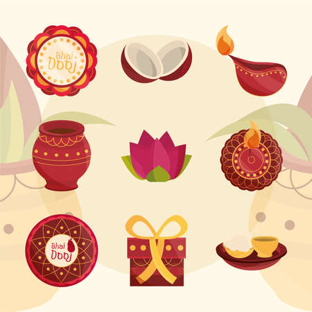 happy bhai dooj, affection sister and brother celebration hindu, icons set vector illustration