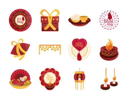 happy bhai dooj, celebration relationship brothers and sisters, collection icons vector illustration