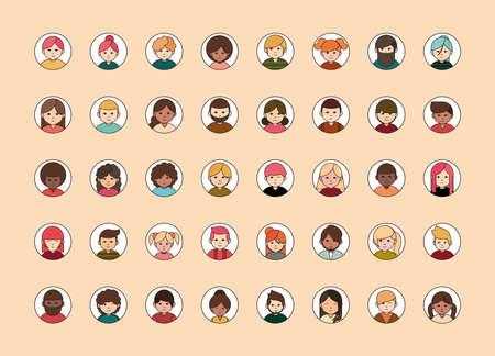 people diverse faces of different ethnicity, round line icons set vector illustration Ilustração