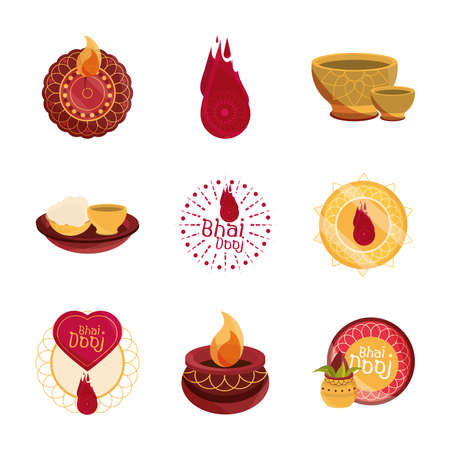 happy bhai dooj, celebrated by hindus traditional culture set icons vector illustration