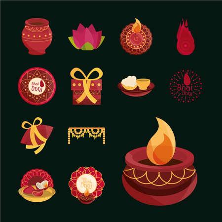 happy bhai dooj, celebration hindu spiritual tradition, icons pack vector illustration Ilustración de vector