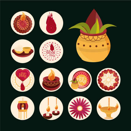 happy bhai dooj, event celebrated by hindus, collection icons vector illustration