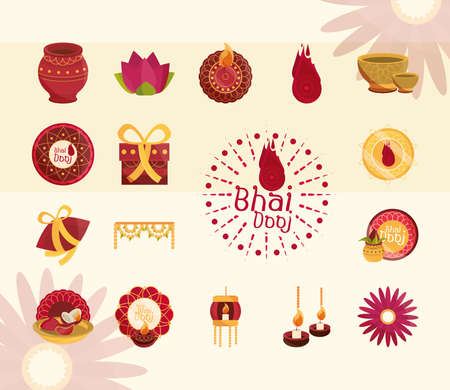 happy bhai dooj, celebration prosperity and greeting, icons set vector illustration Vectores