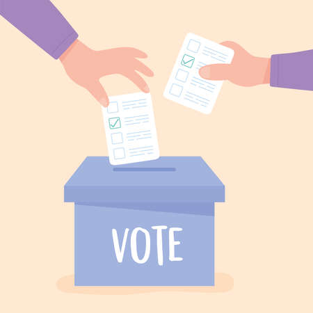 election day, hands pushing paper ballot on cardboard box vector illustration